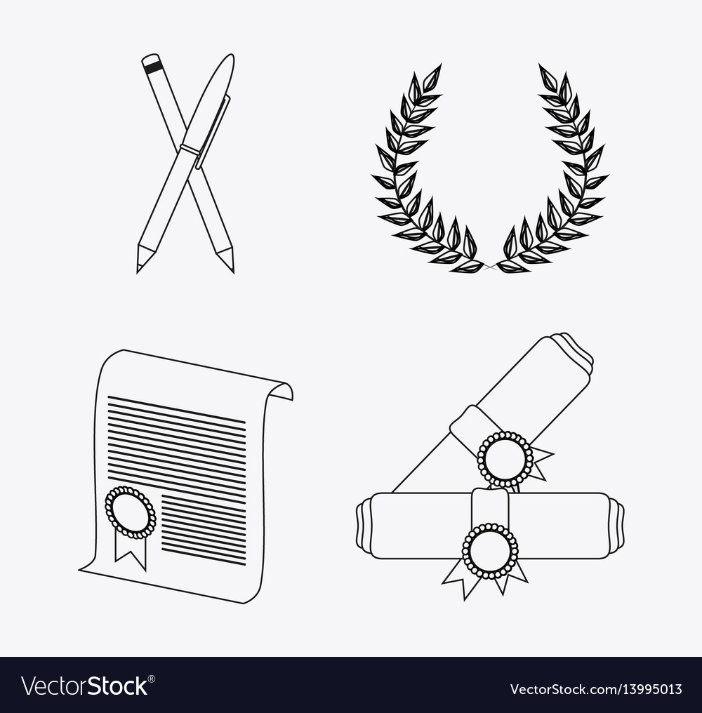 Wreath pencil diploma university icon vector image