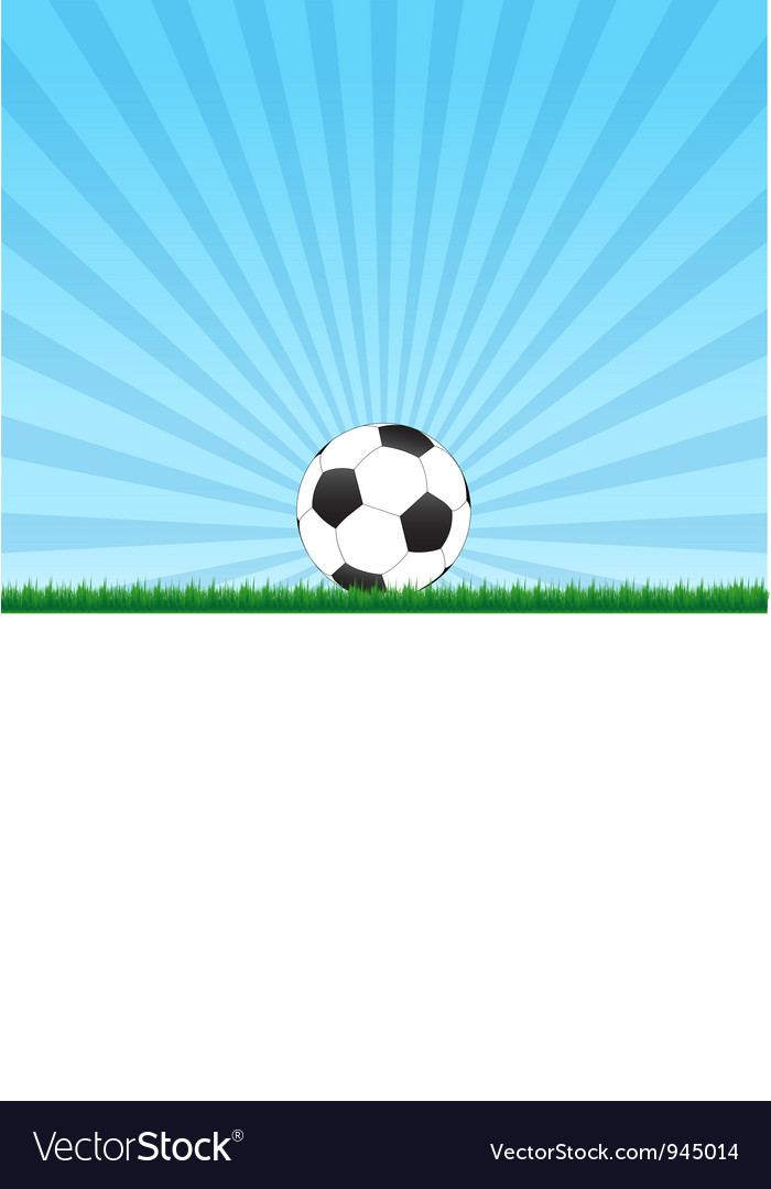 Football ball with rays background vector image
