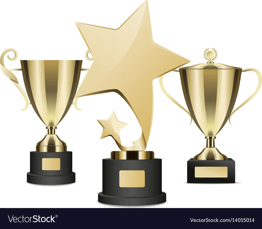 Golden rewards collection of three on stands vector image