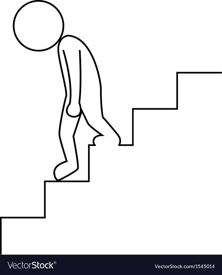 Sad businessman walking downstairs vector image