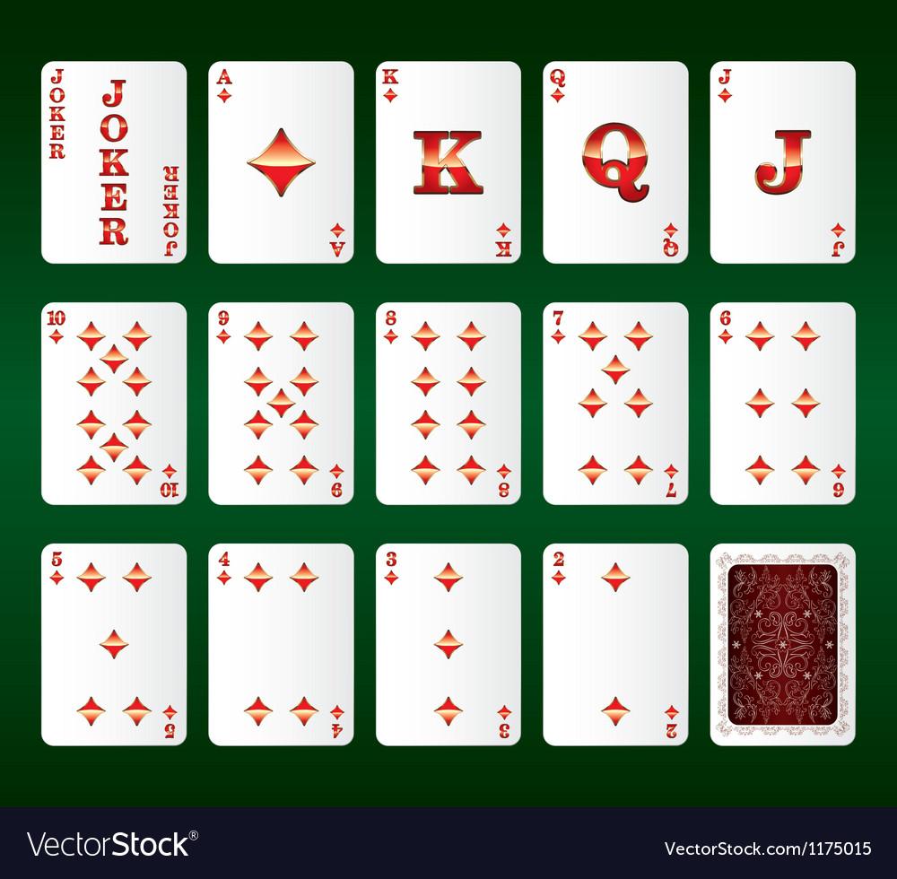 Playing cards Set Diamonds vector image
