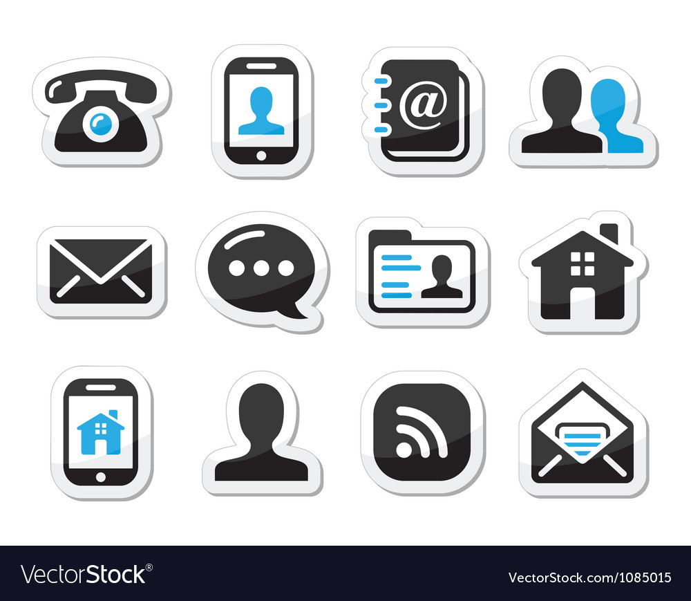 Contact icons set as labels - mobile user email vector image