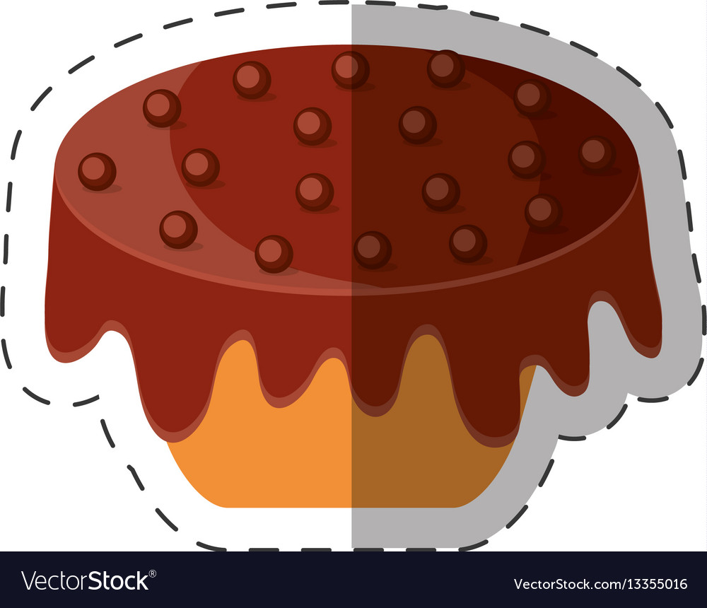 Cake chips chocolate dessert shadow vector image
