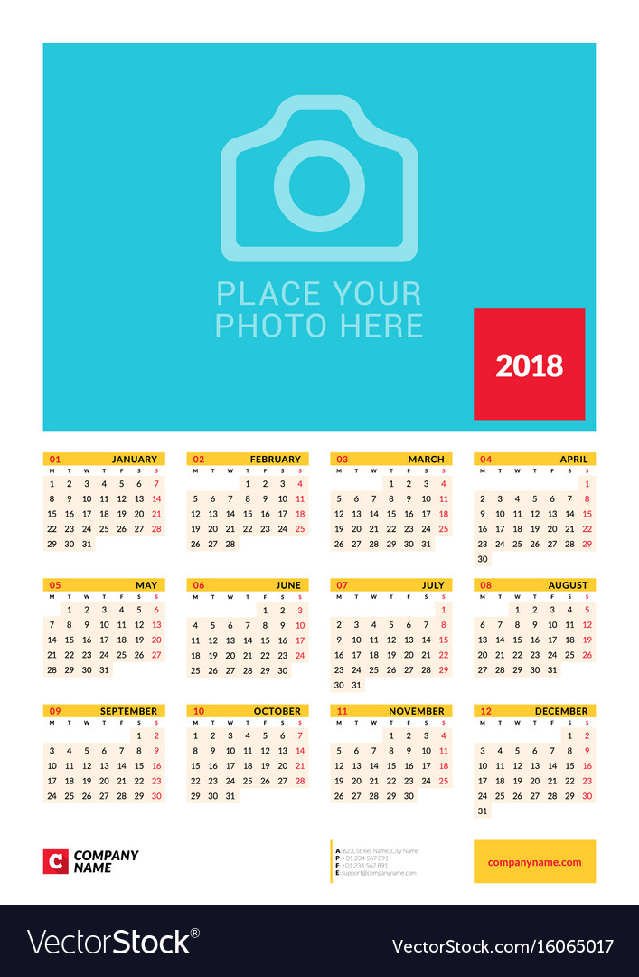 Wall Yearly Calendar Poster For  Year Design Vector Image