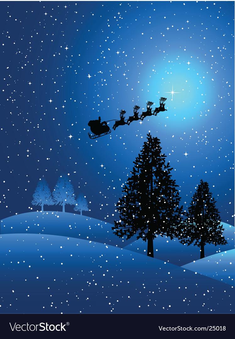 Santa on a snowy night vector image