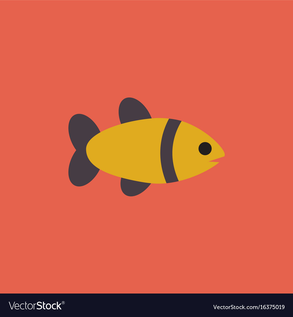 Aquarium fish silhouette colorful cartoon flat