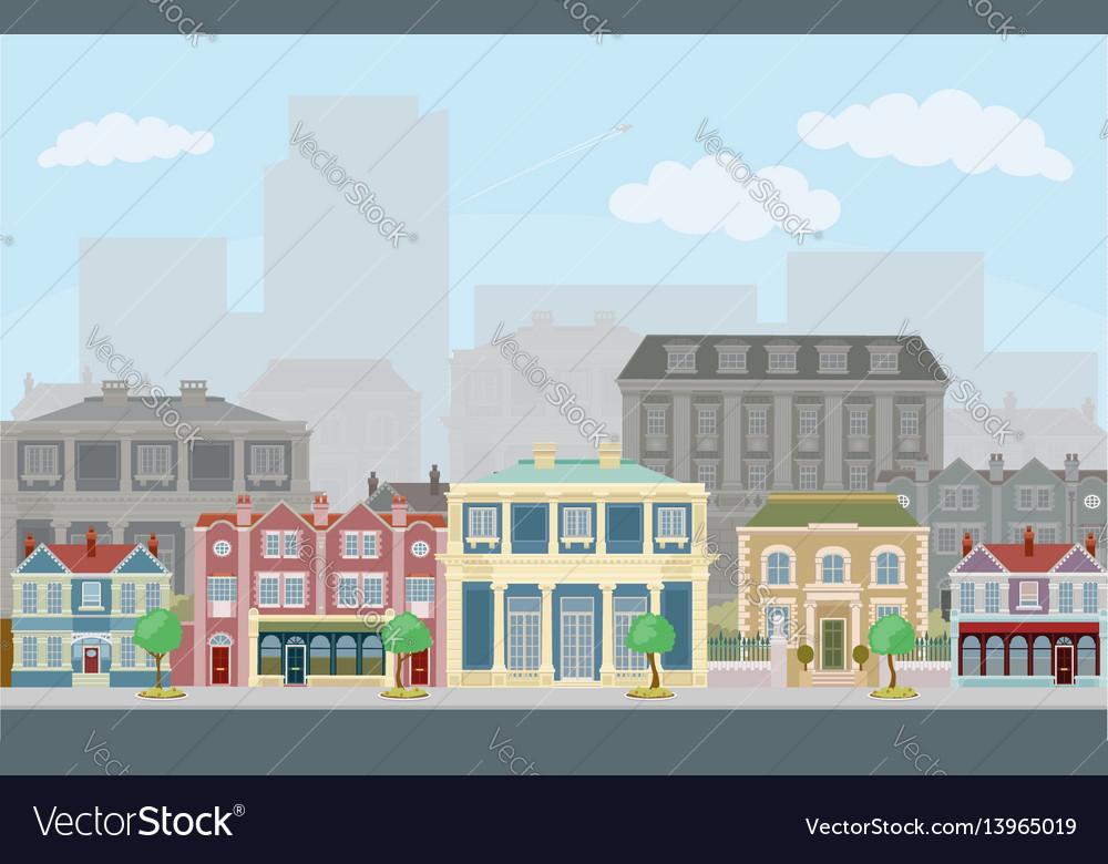 Urban street scene with smart townhouses vector image