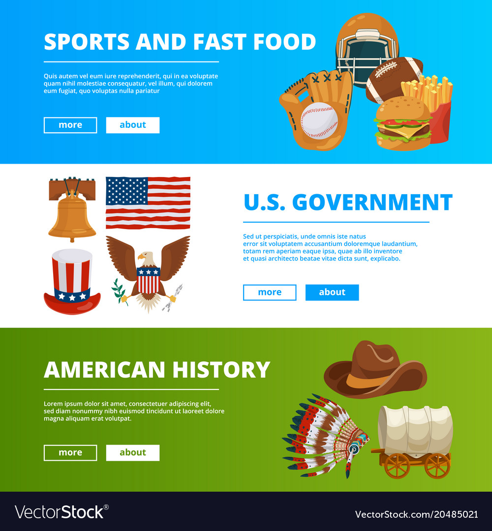 Banners Set With Symbols Of American Culture Vector Image