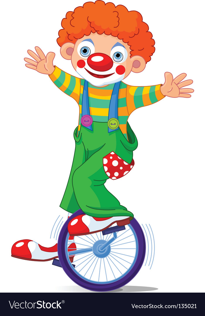 Clown on unicycle vector image