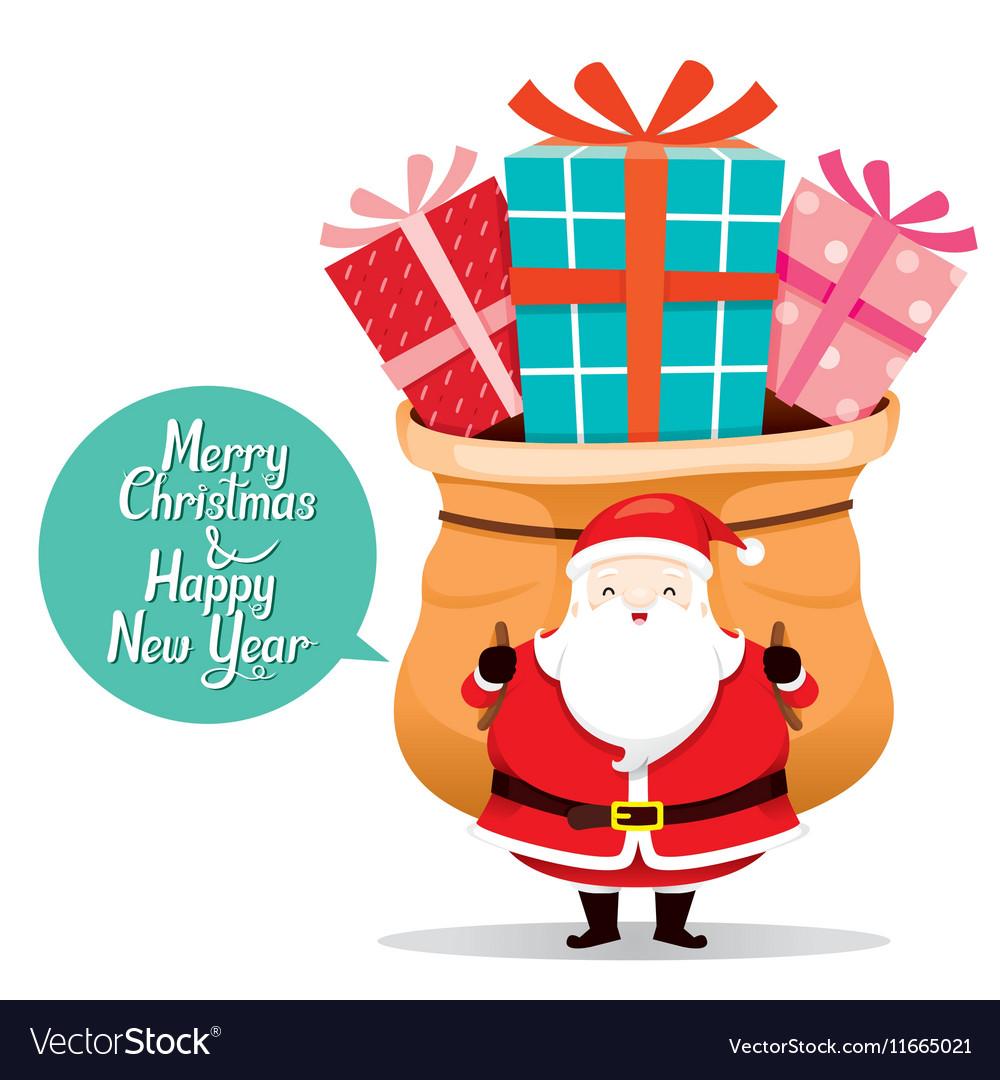 santa claus carrying big sack with gift box vector image - Santa Claus Gifts