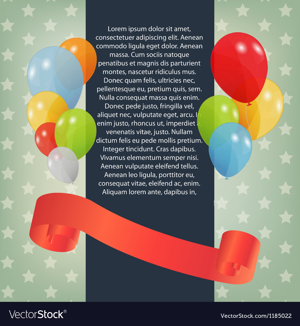 Birthday card with colored balloons Vector Image