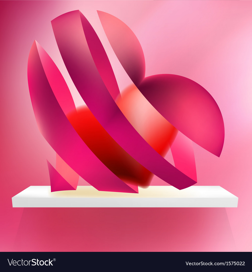 Heart from ribbon Valentines day EPS10 vector image