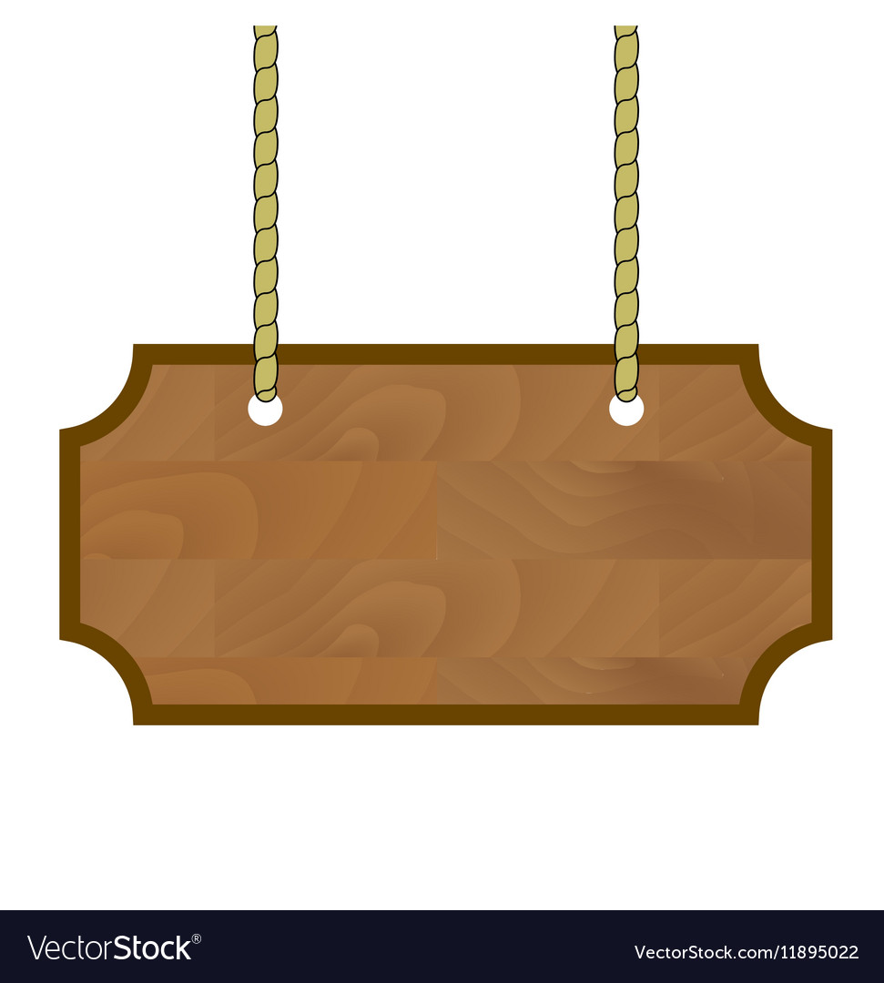 Wooden banner hanging on rope vector image