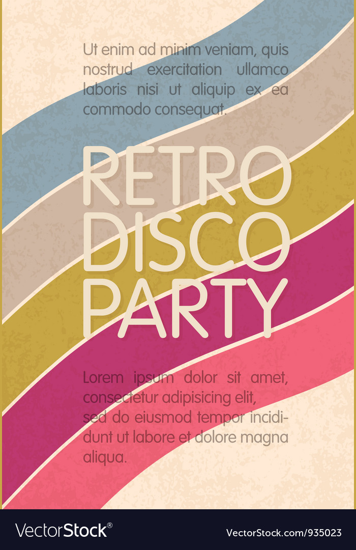 Retro disco party flyer design vector image