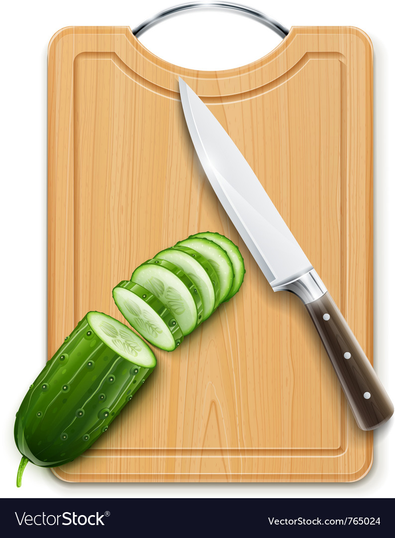 Ripe cucumber cut segment on vector image