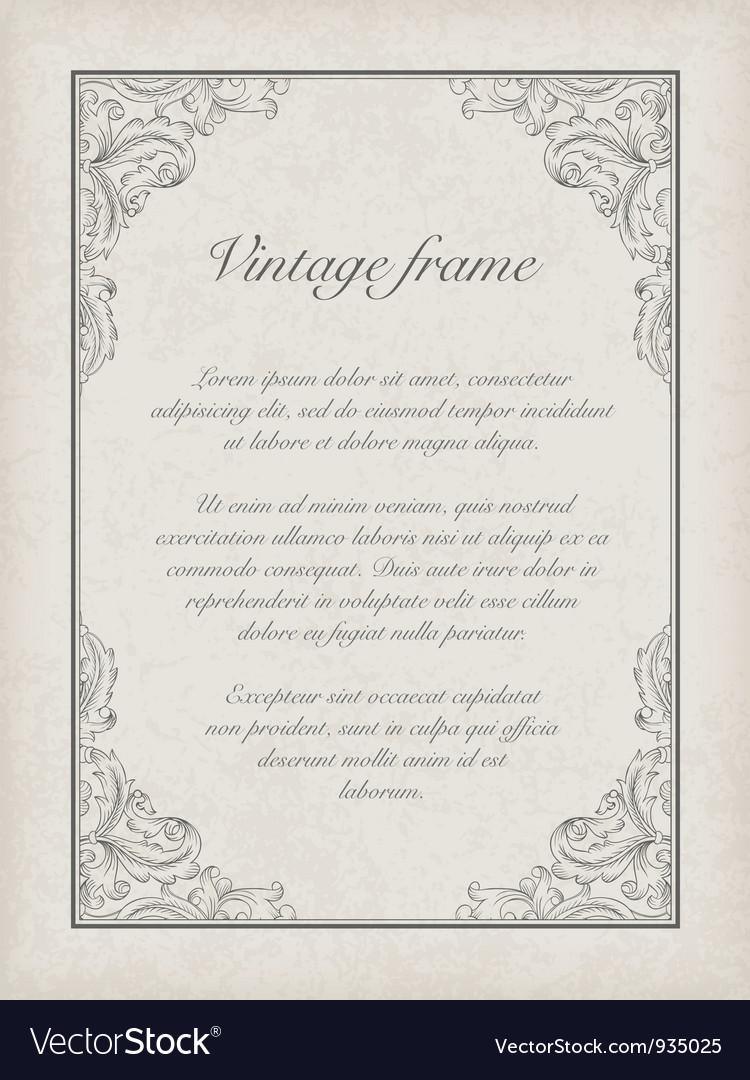 Vintage frame template vector image