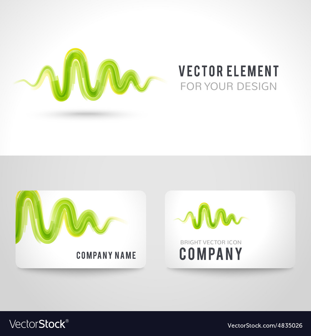 Business card template set abstract green wave vector image