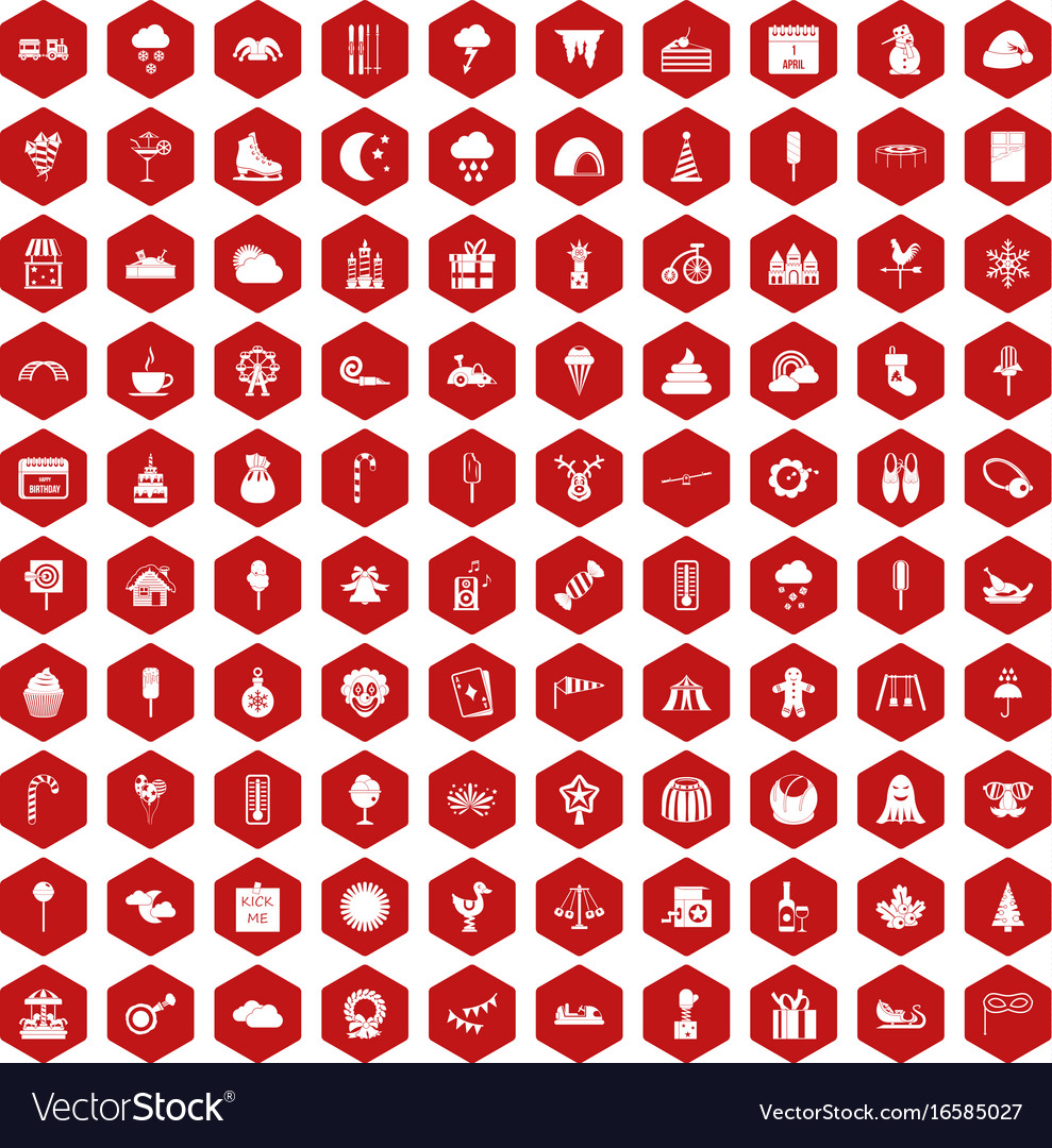 100 childrens parties icons hexagon red vector image