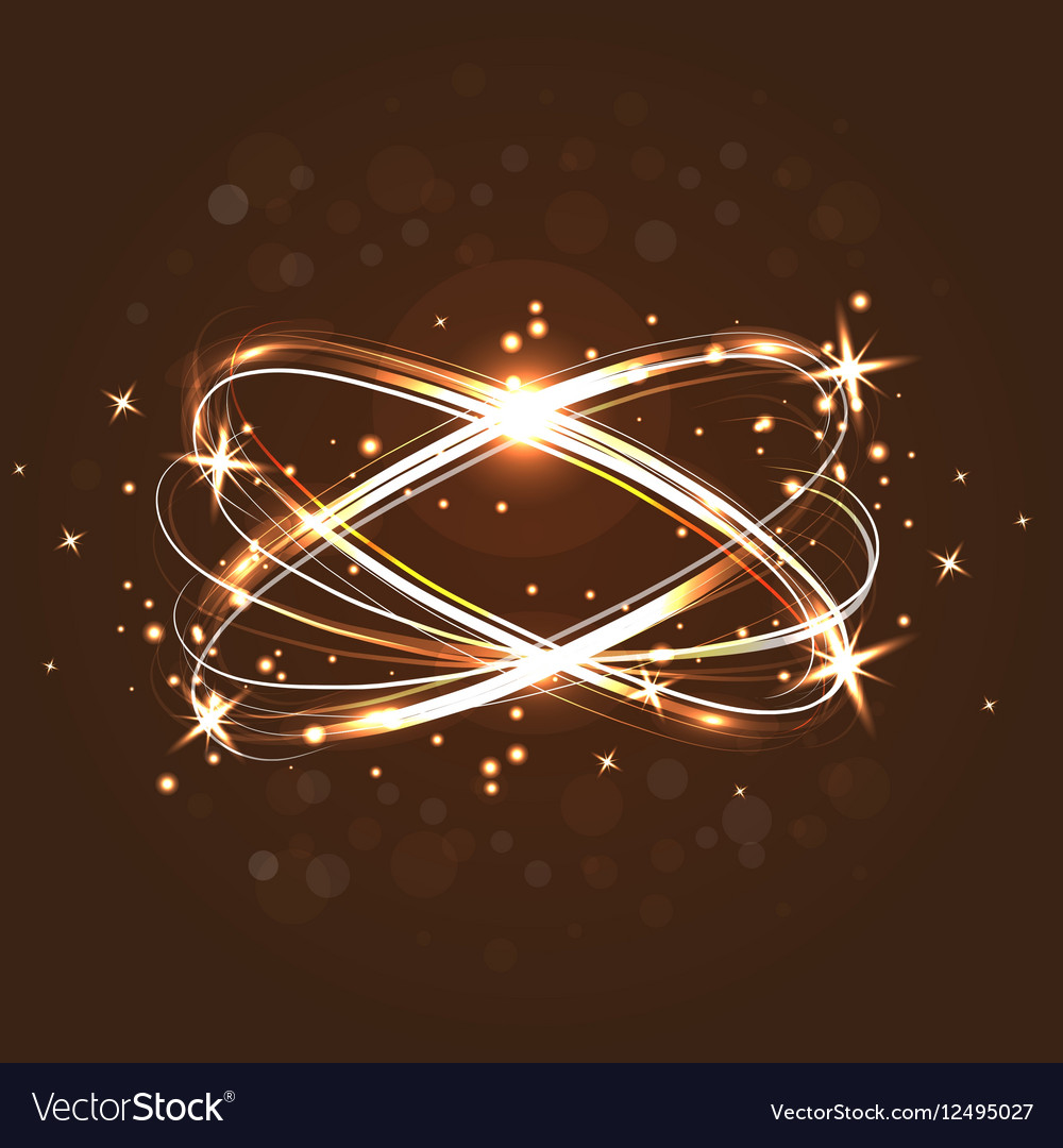 Neon crossed circles light lines effect Magic vector image