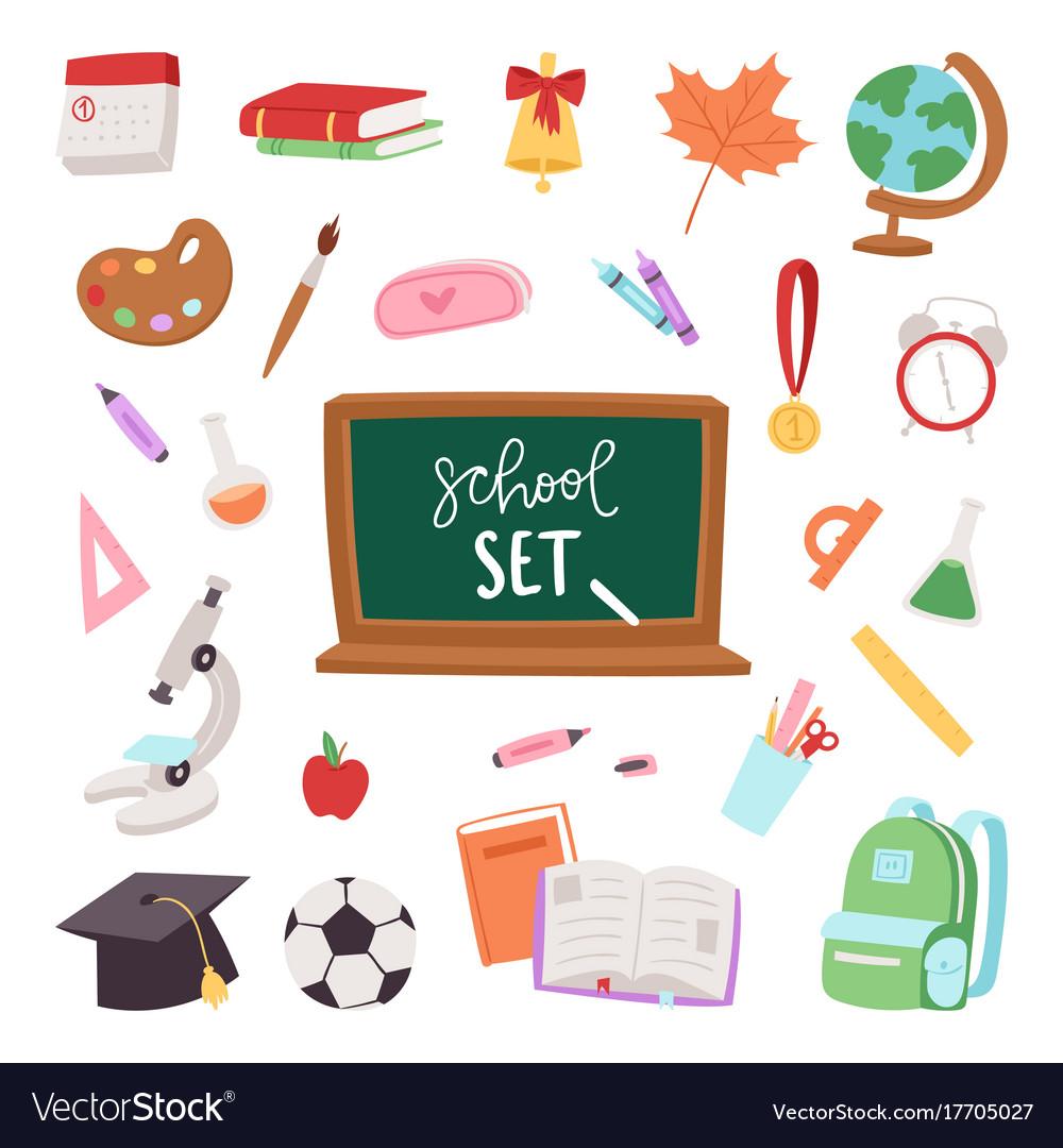School supplies symbols isolated equipment vector image buycottarizona Image collections