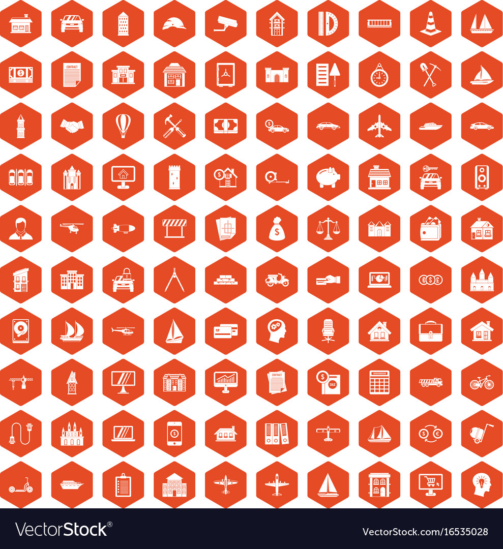 100 private property icons hexagon orange vector image