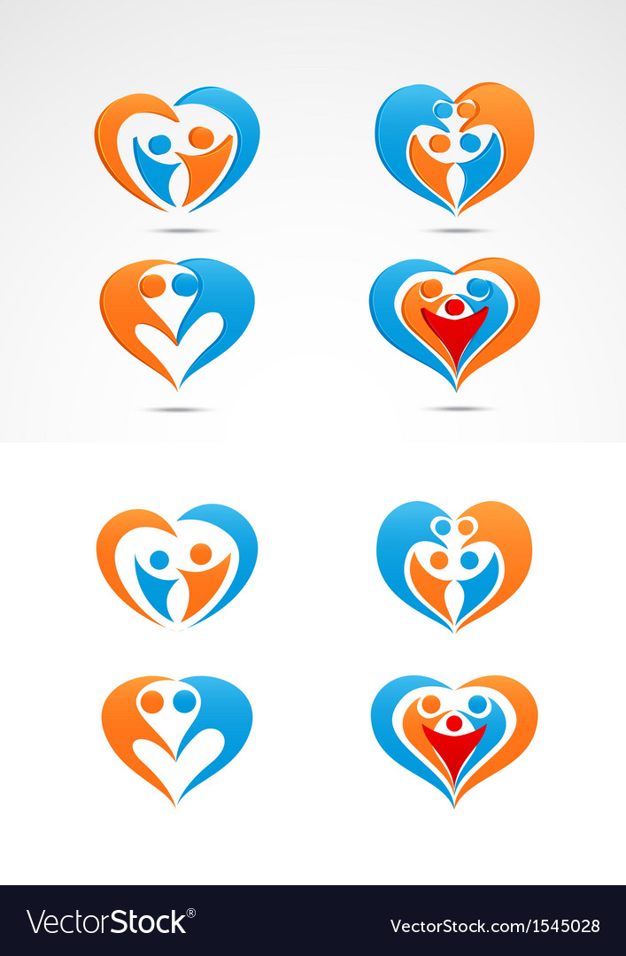 Family love icon collection set vector image