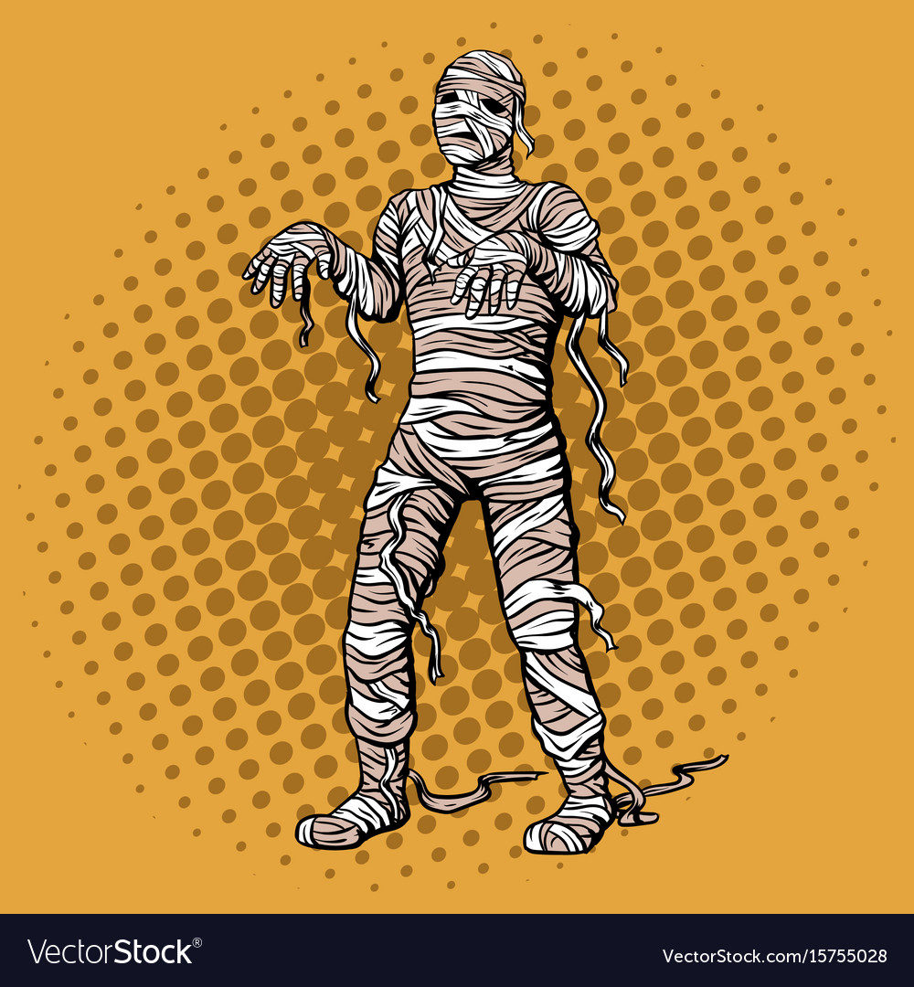 Walking mummy pop art style vector image