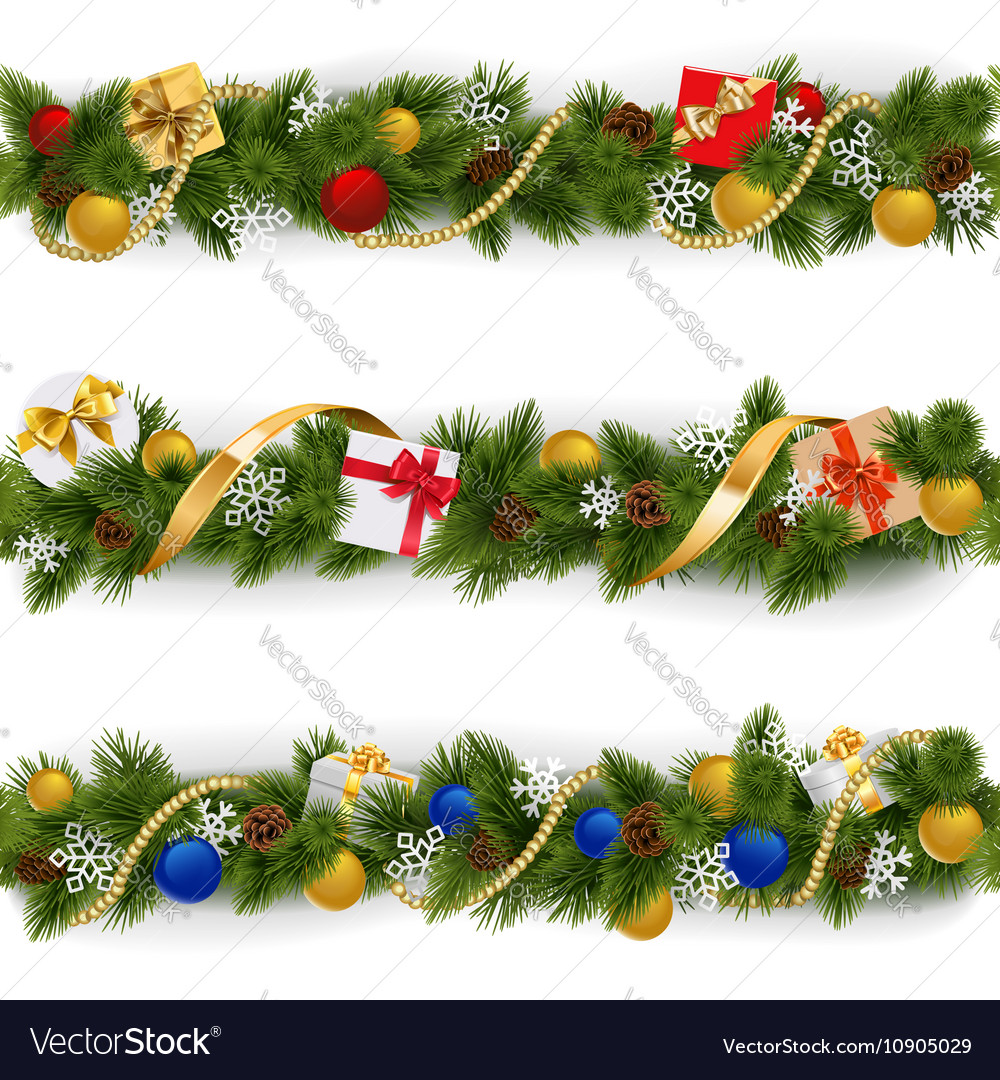 Christmas Border Set 5 vector image