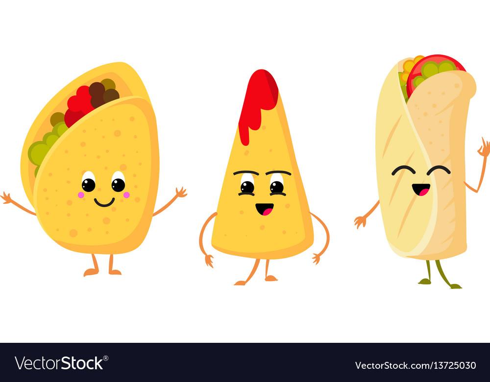 Cute funny corn taco burrito and nachos with vector image