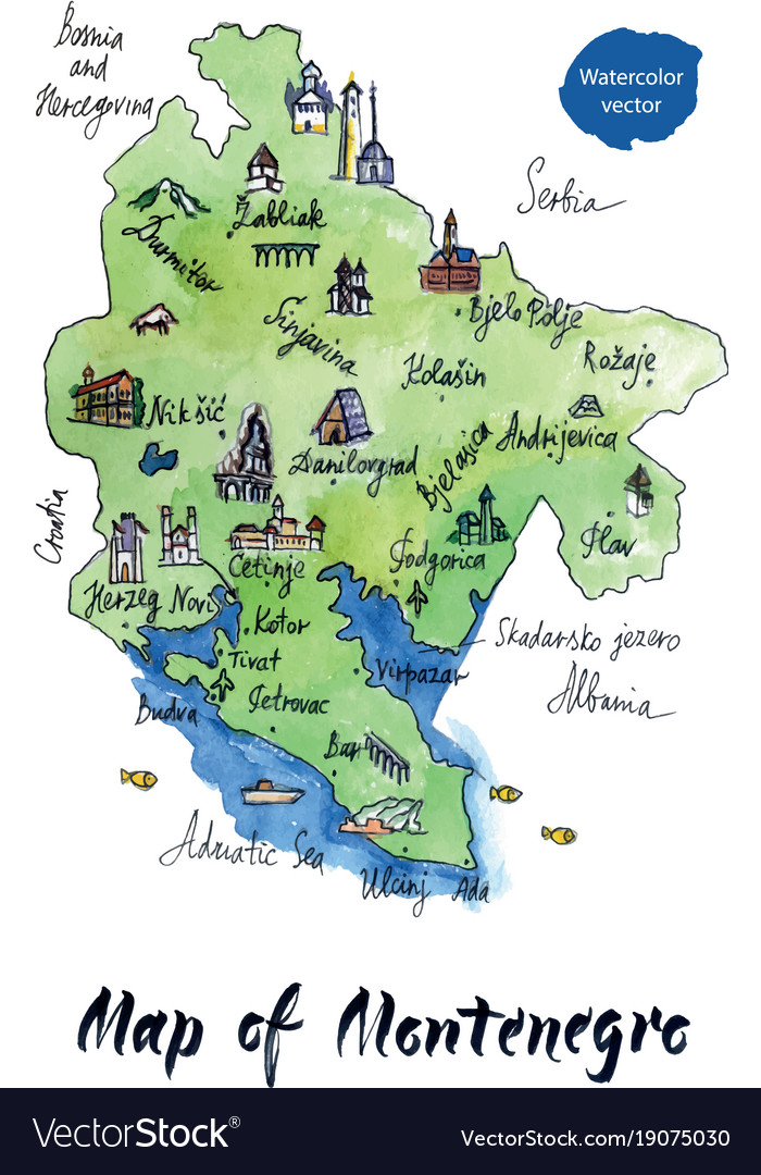 Map of montenegro watercolor vector image