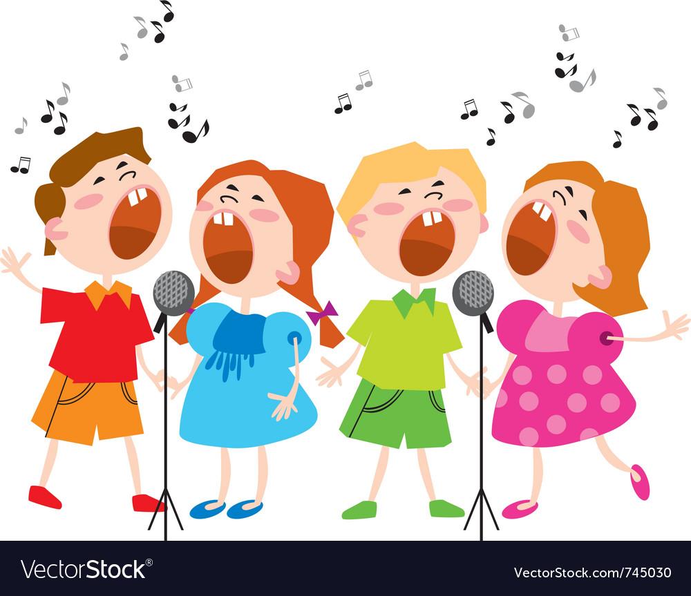 Singing kids vector image
