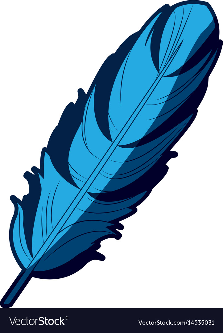 Blue feather free spirit rustic decoration ornate vector image