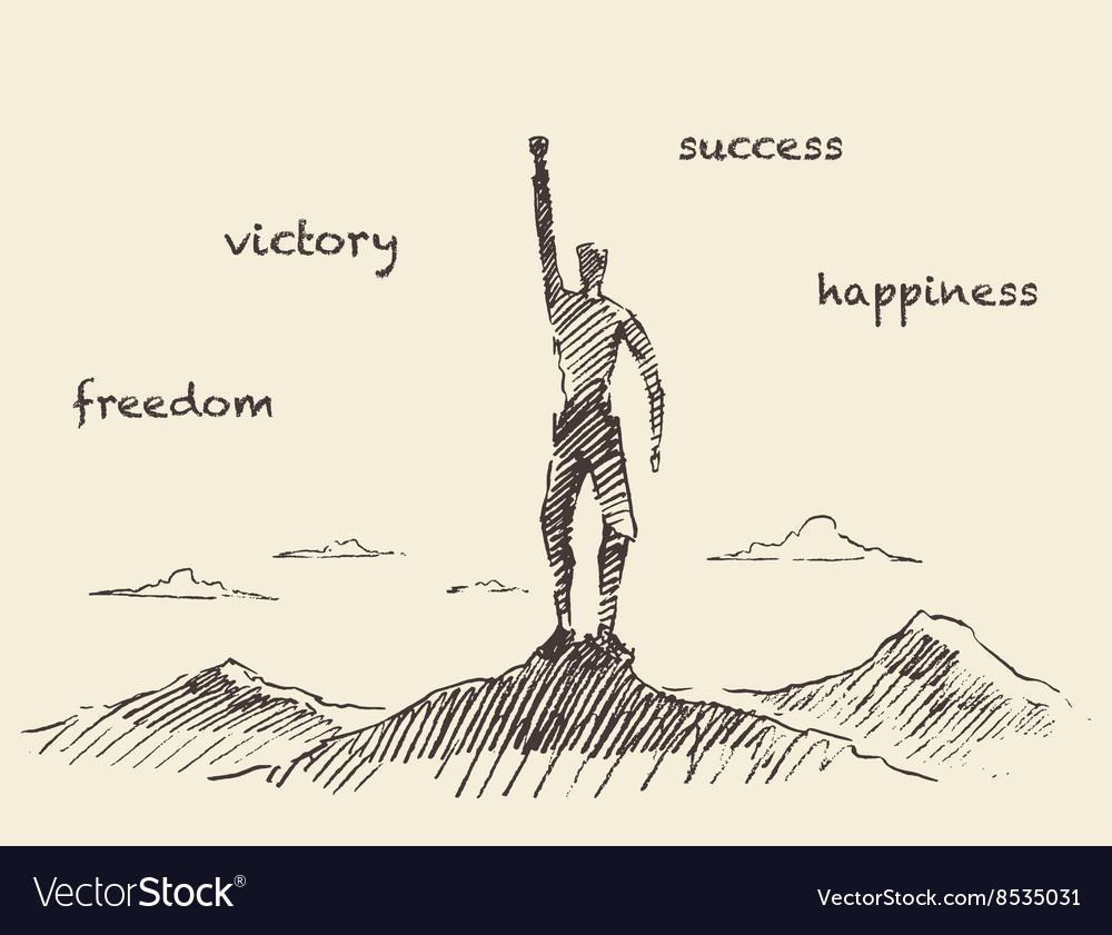 Drawn success climber man mountain sketch vector image