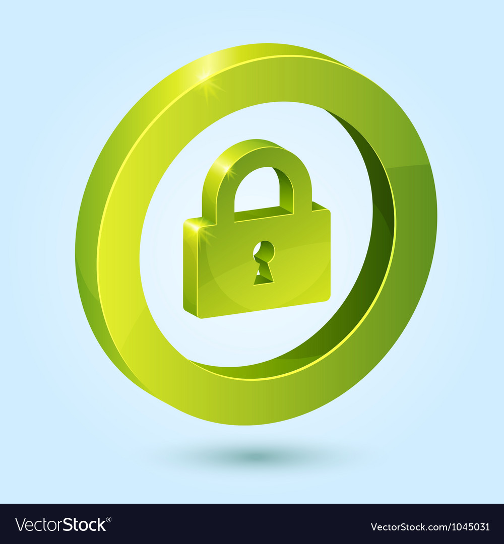 Green lock symbol isolated on blue background vector image