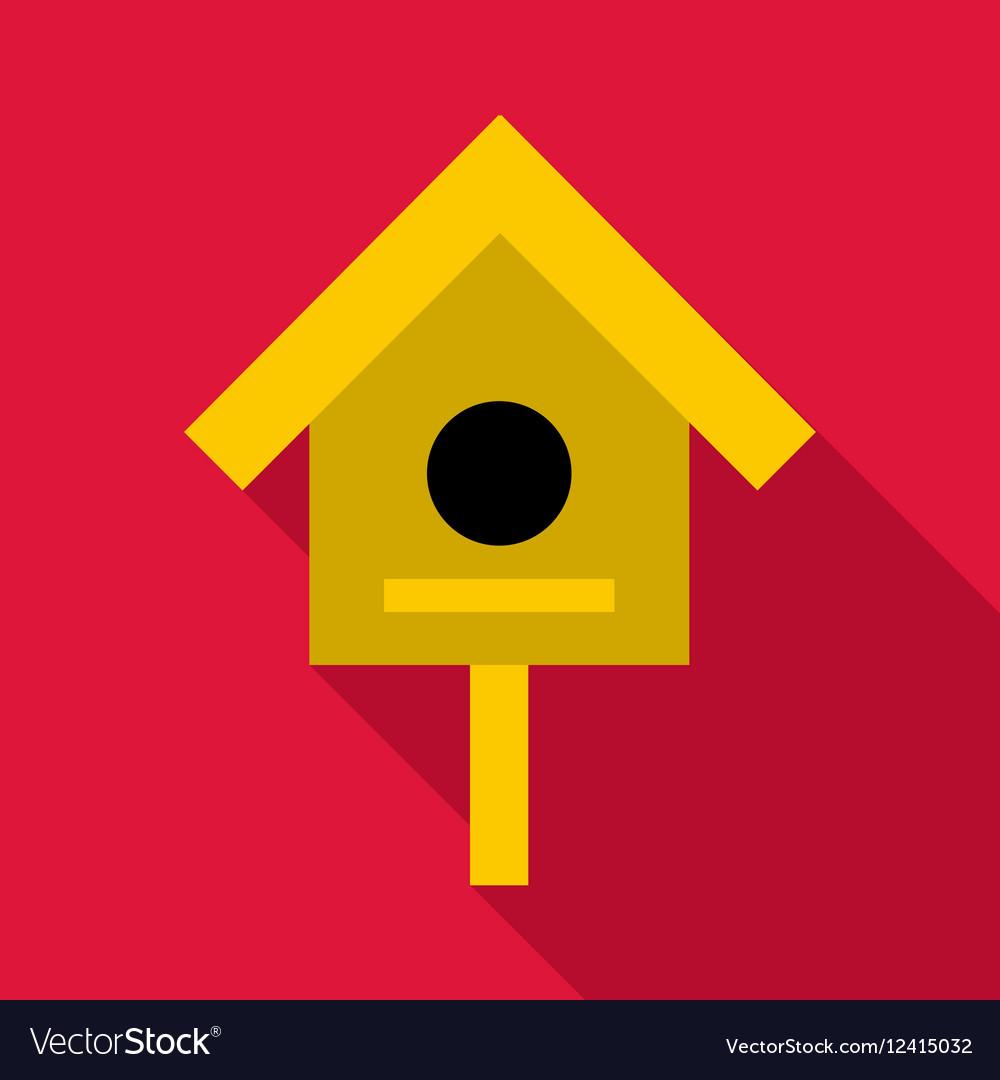 Bird house icon flat style vector image