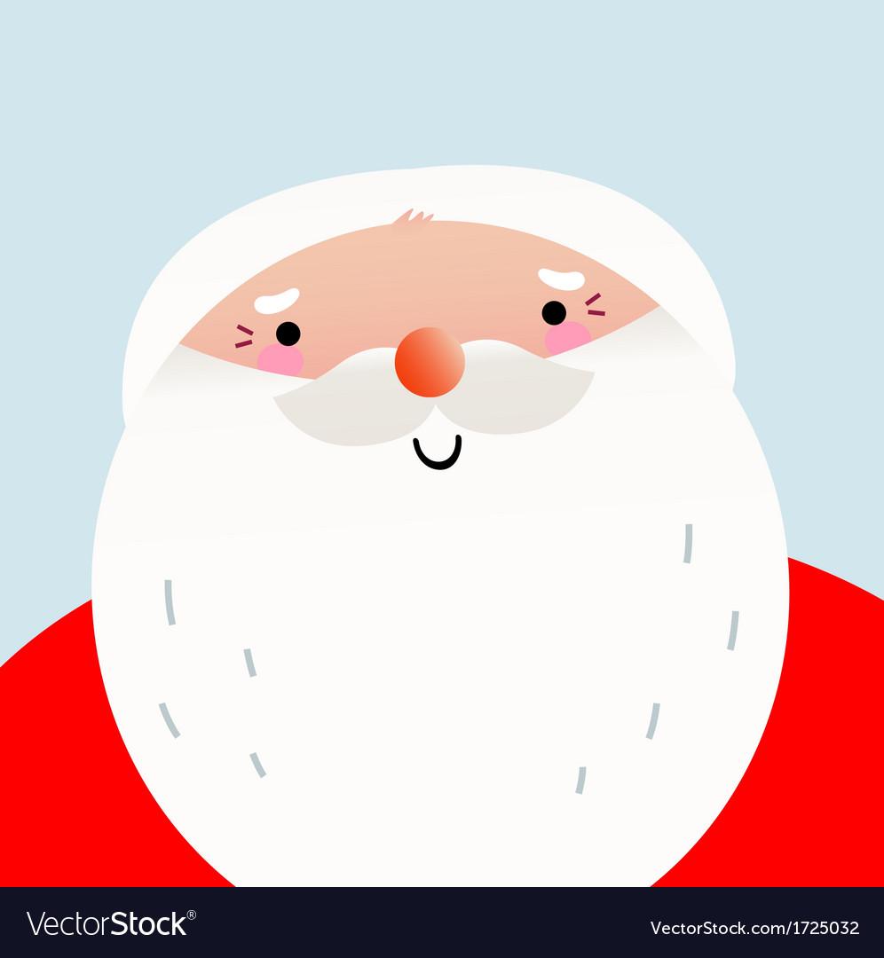 Cute cartoon smiling Santa face for Xmas greeting vector image
