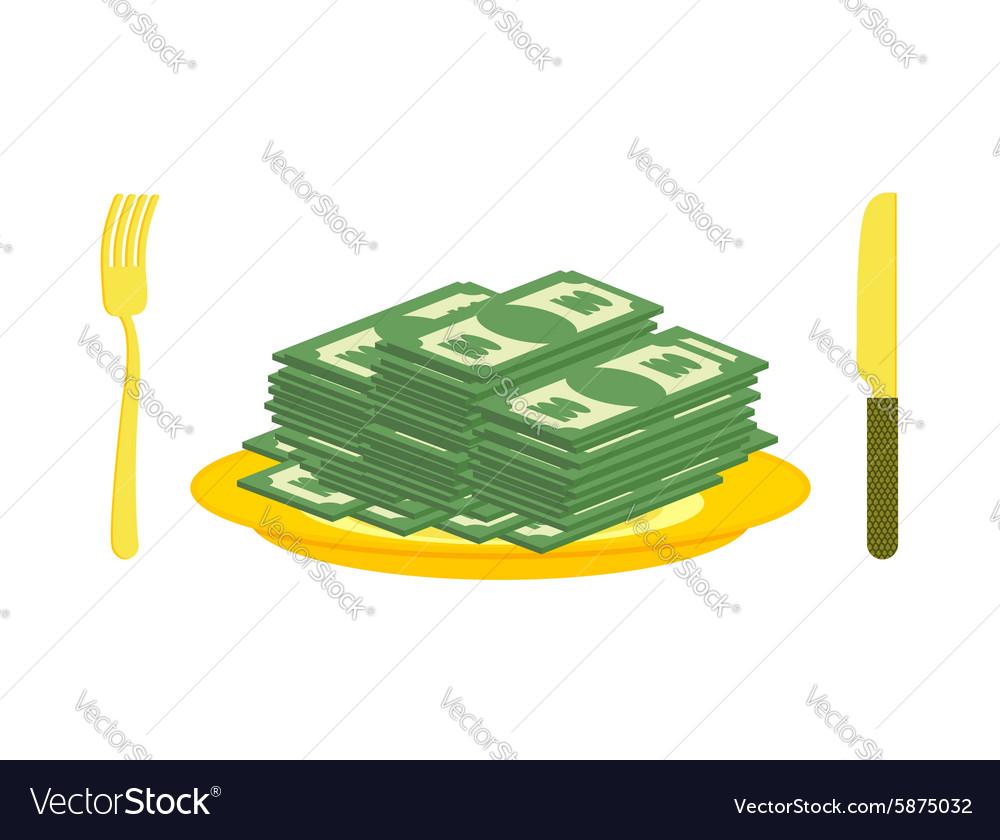 Food oligarch Bundles of money cash eats for vector image