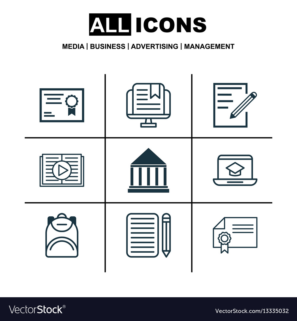 Set of 9 education icons includes home work vector image