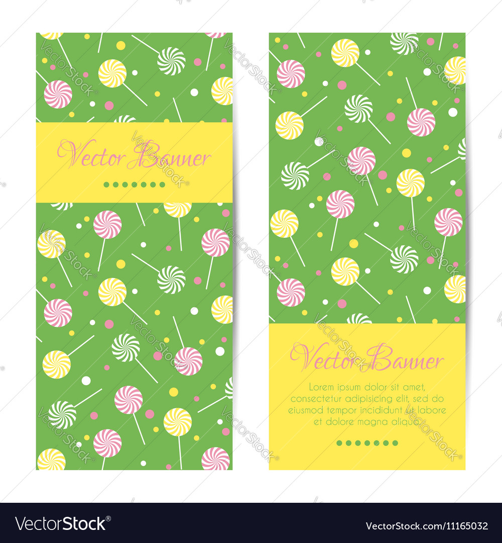Vertical banners cards with lollipops vector image
