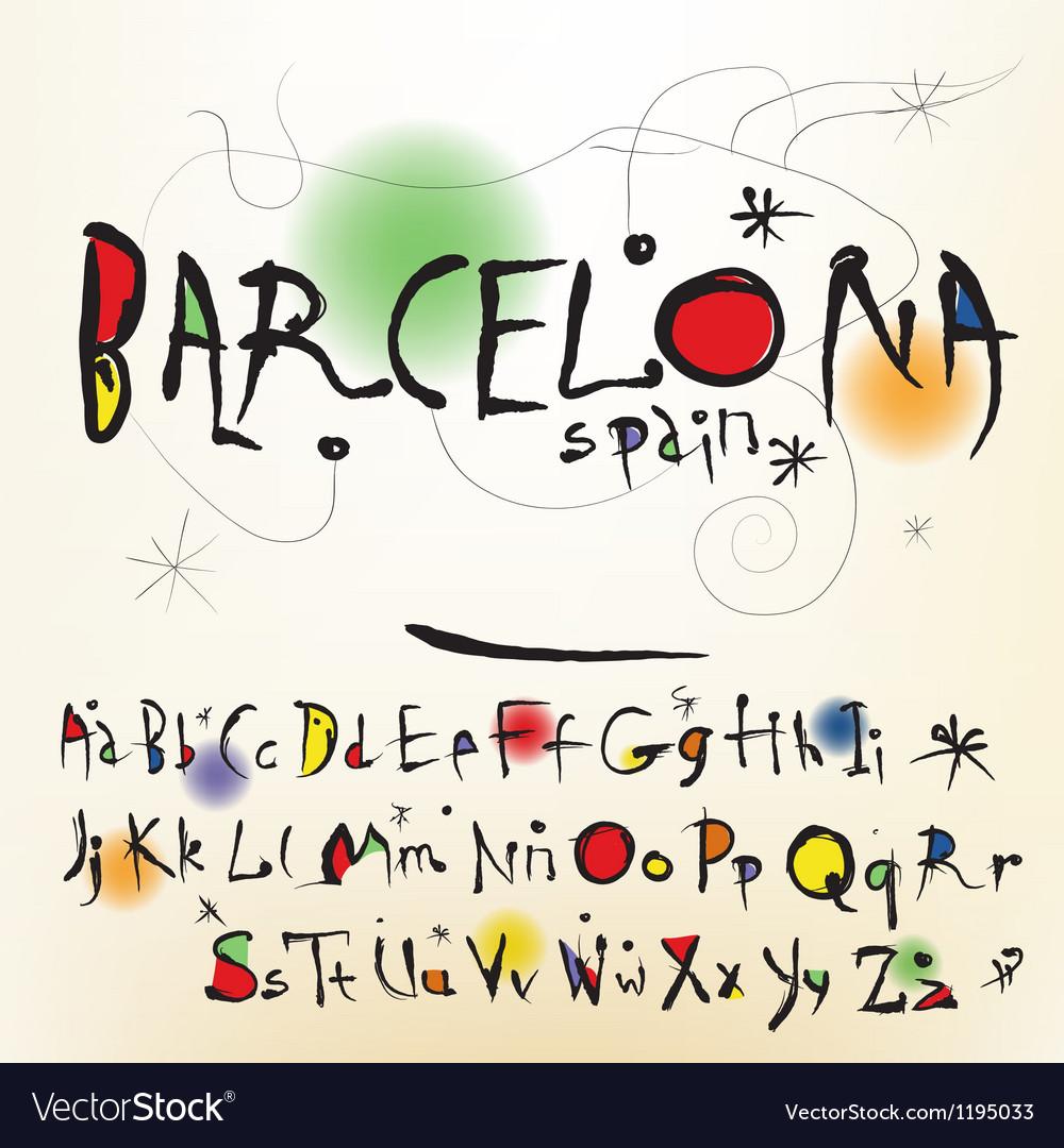 The alphabet in style Spanish artist of Joan Miro Vector Image
