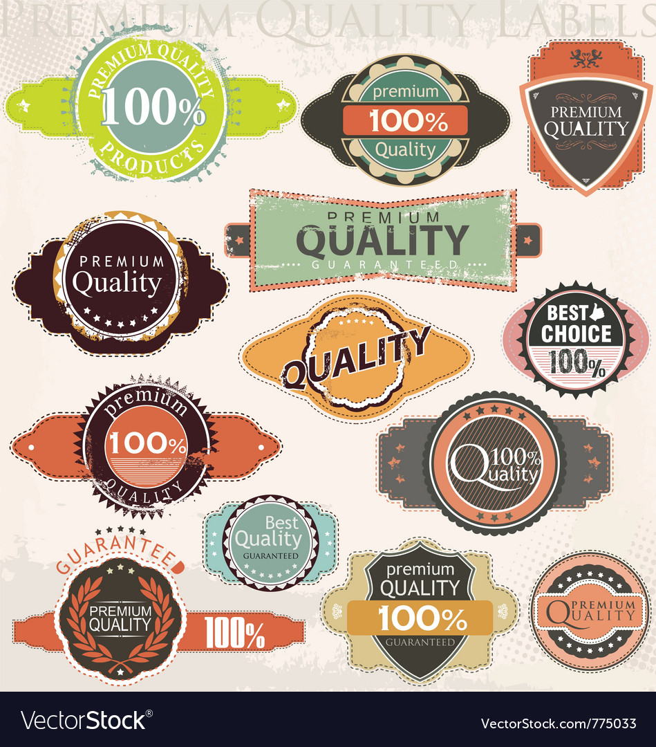 Retro premium quality label collection set vector image