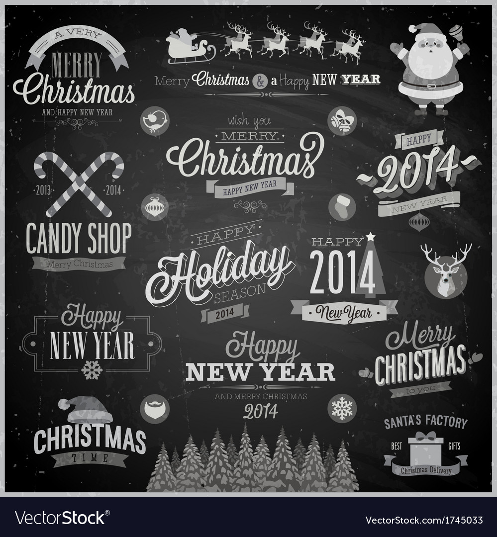 Christmas emblems chalk vector image