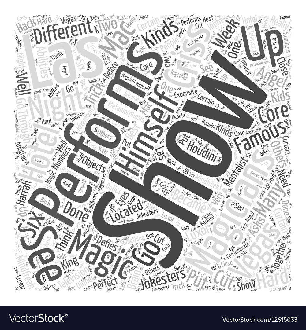 Magicians of Las Vegas Word Cloud Concept vector image