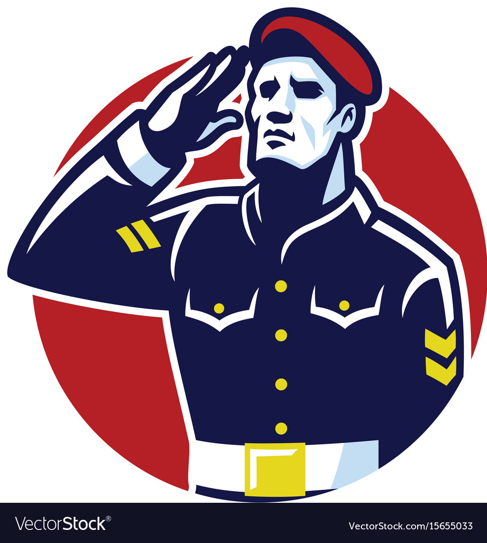Military soldier salute vector image