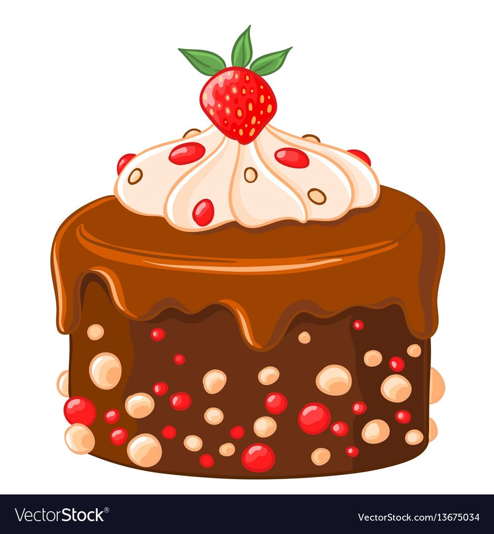 Cartoon icon chocolate-coffee cake with caramel vector image