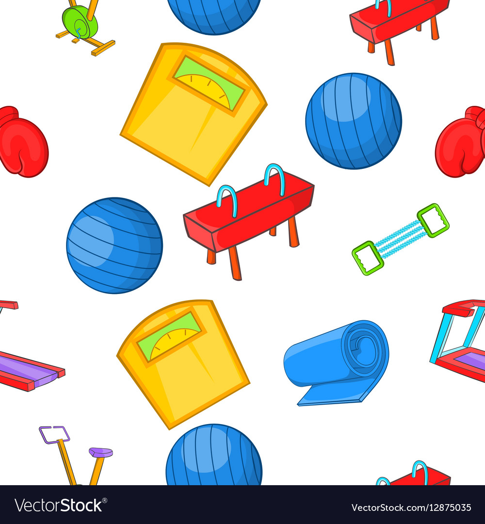 Classes in fitness room pattern cartoon style vector image