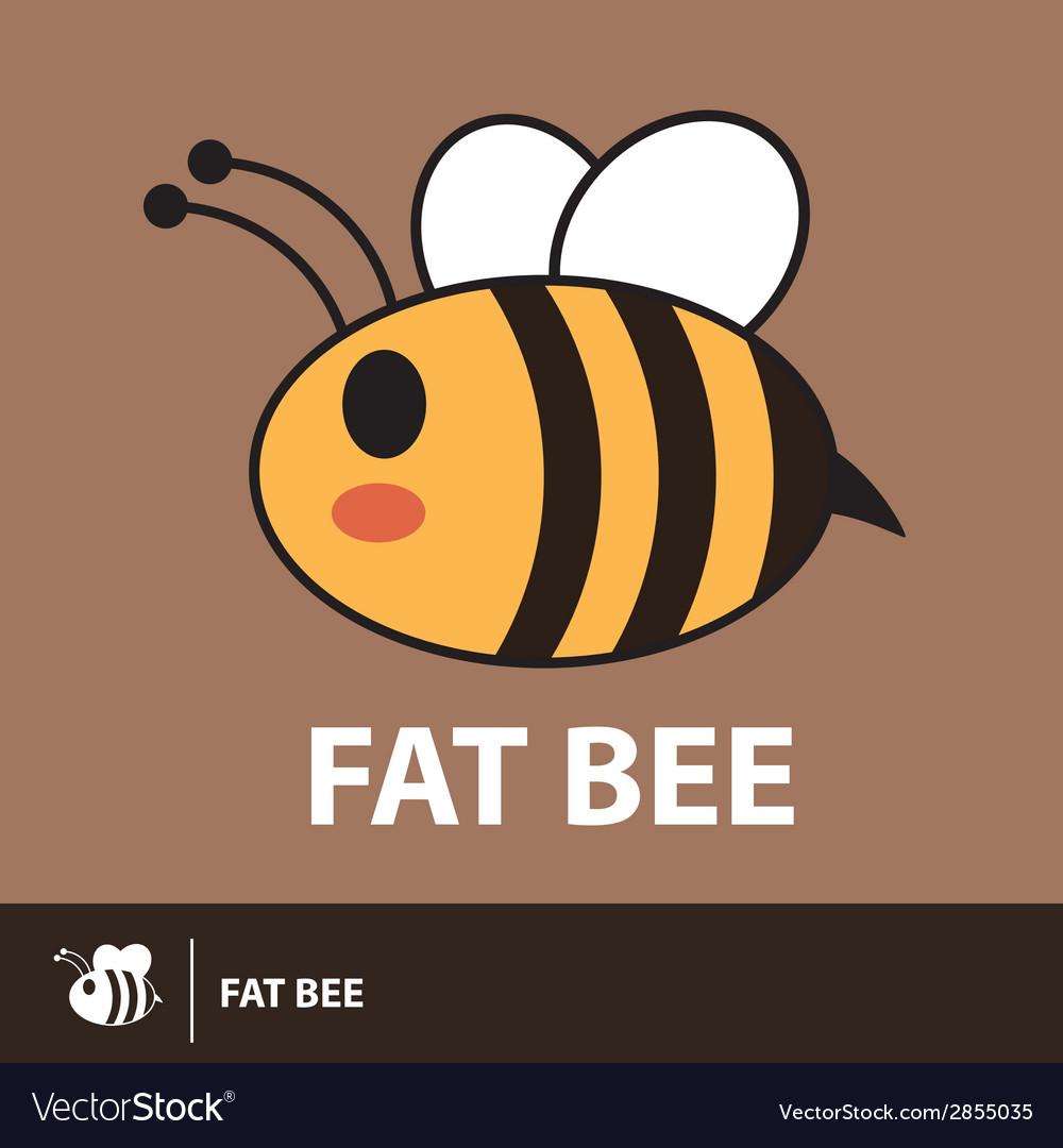 Cute fat bee symbol icon vector image