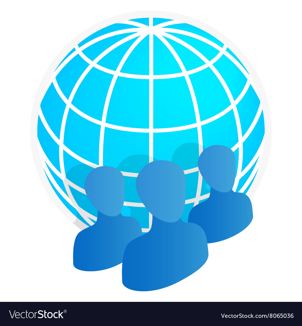 Business team with globe icon isometric 3d style vector image