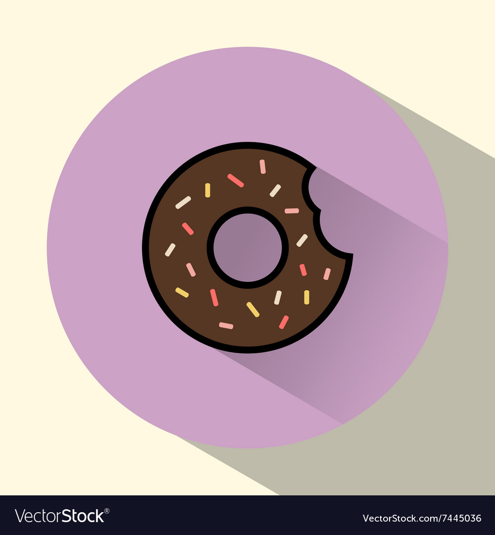 Chocolate cream donut with sprinkles round icon vector image