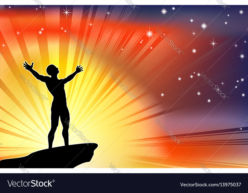 Man on cliff top with arms raised vector image